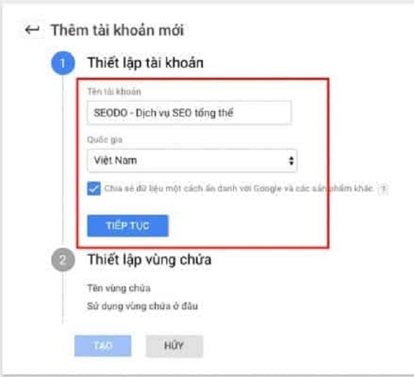 Thiết lập Google tag manager
