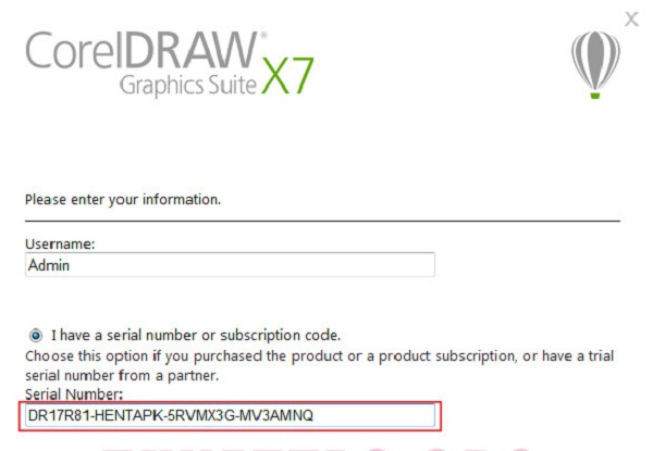 Giao diện dán key vào hộp thoại i have serial number or subscription code